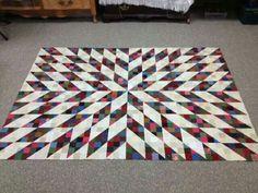 Split nine patch layout.  Bonnie Hunter's free pattern