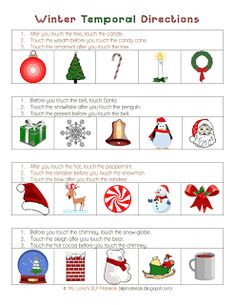 Ms. Lane's Therapy Materials: Following Temporal Directions-Winter Theme. Pinned by SOS Inc. Resources. Follow all our boards at pinterest.com/sostherapy for therapy resources.