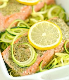www.sizzlefish.com  Simple ingredients like Sizzlefish Salmon, create the best meals! This Baked Lemon Herb Salmon & Zucchini Noodle recipe from @skinnyfitalicious is EASY, SIMPLE & DELICIOUS!  _ Head to our website: www.sizzlefish.com to order your perfectly portioned fish