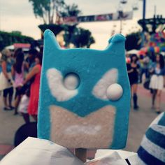 Batman popsicle with gumball eyes