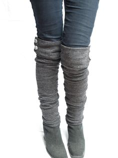 Charcoal knit military leg warmers! I need to keep eyes open for long sleeve shirts! I can make theses!