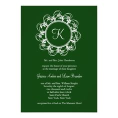 Fancy Monogram Wedding Invitation in emerald green