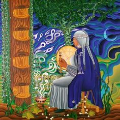 Her spiritual, feminist paintings channel ancestral wisdom and sacred visions of ayahuasca and DMT ceremony. Sacred Feminine, Native American Artists, Creative Workshop, Indigenous Art, Visionary Art, Medicinal Plants, Red Background, Indian Art, Medicine