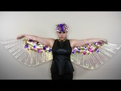 Lamé Wings ♥ DIY - YouTube  Wings of Isis, Egyptian god, costume, cosplay, iridescent, metallic, opera, gold, light weight, drag, theater