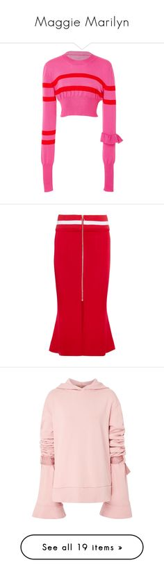 """""""Maggie Marilyn"""" by designing-myworld ❤ liked on Polyvore featuring pink, skirts, jersey, midi, red, striped, red knee length skirt, zipper skirt, satin midi skirt and calf length skirts"""