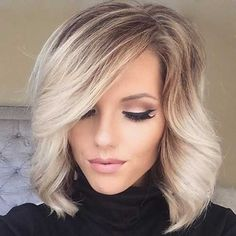 blonde lengths with graduated dark roots - bob with big waves