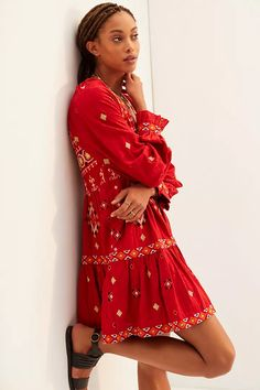 Embroidered Tunic Dress | Anthropologie
