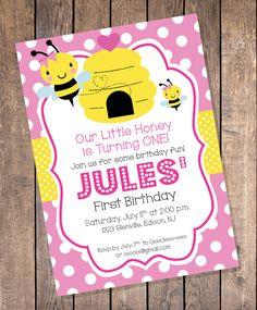 Bee Birthday Invitation Bumble Bee by LookandSeaCreative on Etsy