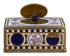 Singing Bird Box Automaton by Karl Griesbaum ~ 20th Century, Germany, Hand-Painted Enamel, Decorative Box, Musical ~ M.S. Rau Antiques