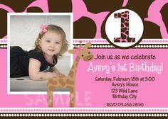 girl first birthday invitations | Pink Giraffe First Birthday Party Invitation