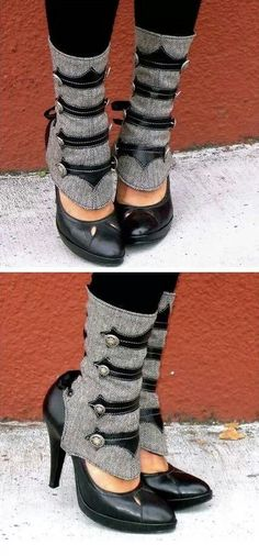 Steampunk leg warmers/spats...hahaha, yes! I won't lie, I'd wear these