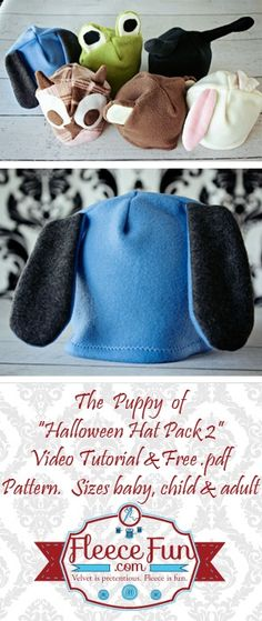 Easy to make puppy hat in sizes baby to adult.  Free pdf pattern and step by step instructions easy diy homemade-gift-ideas-2012