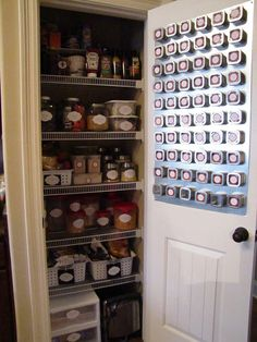 Pantry organization and DIY magnetic spice wall. Via Keeping Up with the Joneses.