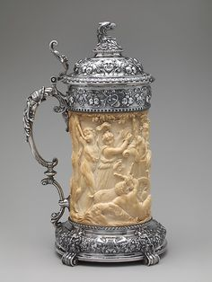 Tankard, Maker: Gorham Manufacturing Company (American, Date: 1898 Geography: Made in Providence, Rhode Island, United States Culture: American Medium: Silver and ivory. Beer Cellar, Mugs And Jugs, German Beer Steins, Beer Mugs, Bone Carving, Wine And Beer, Craft Beer, Horns, Amazing