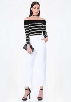 Adorbs double-stripe sweater top in a soft rib knit and flirty off-shoulder design. 3/4 sleeves.