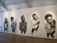 Yashua Klos, woodblock prints on muslin, Installation View of 'Banners' Series