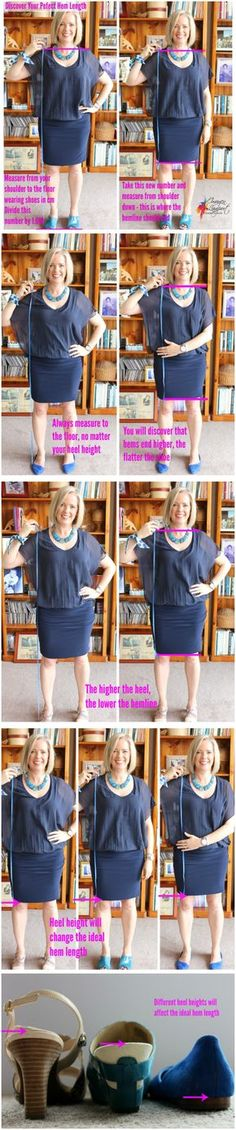 How to Find Your Ideal Skirt or Dress Hem Length.Also there's a method to find your Ideal Top and Jacket Length.