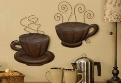 Coffee House Themed Kitchen Decor | ... -Steaming-COFFEE-CUP-PLAQUES-Pair-Brown-Java-Decor-Kitchen-Accent-Art