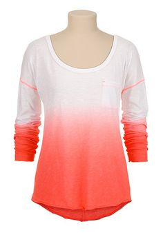 Drop Shoulder Ombre long sleeve tee (original price, $24) available at #Maurices