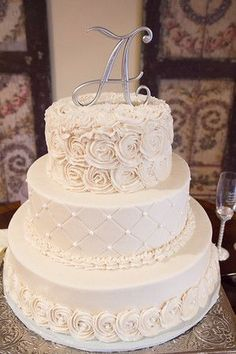 Floral Wedding Cakes Confection Perfection - Georgia - I found this great wedding vendor on The Knot! Floral Wedding Cakes, White Wedding Cakes, Elegant Wedding Cakes, Beautiful Wedding Cakes, Cool Wedding Cakes, Wedding Cake Designs, Wedding Cake Toppers, Beautiful Cakes, Wedding Rings