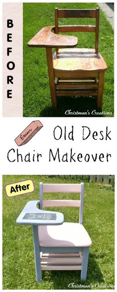 Old desk chair makeover ~ perfect for any child's room.