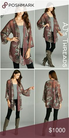✨Coming Soon✨ Floral Kimono Cardigan Long Three Quarter Sleeve Fall Floral Hi-Multi Chiffon Kimono Cardigan - 100% Polyester Color: Mauve Made in USA ✨Like to be notified when this comes in. Bundle and save 10% Free gift with purchase over $20 Sweaters Cardigans