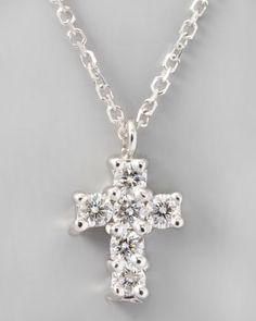 Small Diamond-Cross Pendant Necklace, White Gold - Neiman Marcus