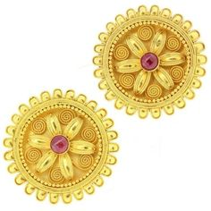 Preowned Lalaounis Gold Ruby Petals Earrings (€3.210) ❤ liked on Polyvore featuring jewelry, earrings, multiple, ruby earrings, gold jewellery, flower jewellery, gold earrings and ruby jewelry