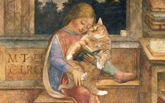 Vincenzo Foppa, Young Cicero reading to his cat Famous Artwork, Watercolor Cat, Silly Cats, Cat People, Fat Cats, Funny Art, Kittens Cutest, Cat Art, Cat Lovers