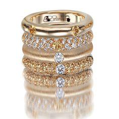 Adolfo Courrier Classic Gold 18 Karat Yellow Gold Yellow Sapphire & Diamond Stack Ring Set