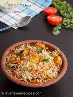 Paneer Dum Biryani Recipe with Step by Step Pictures Paneer Recipes, Veg Recipes, Indian Food Recipes, Vegetarian Recipes, Cooking Recipes, Recipies, Indonesian Recipes, Indian Snacks, Cooking Time