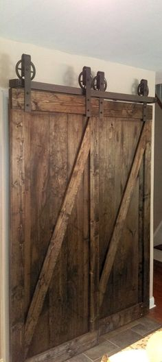 Bypass Vintage Spoked Sliding Barn Door Closet by TheWhiteShanty
