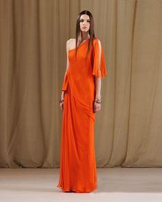 Sheath Sloping Floor Length Chiffon & Ruffles Prom Dress #fashion #dress