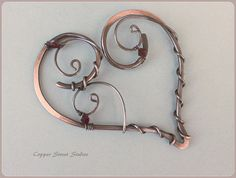Hair Pin Heart Hair Slide with Red Crystal by CopperStreetStudios