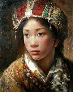 """Tribal Princess"",  Painting by Tang Wei Min,  Chinese, born in 1971"