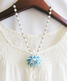 LOVE it! - Light Blue Rose Necklace with Small White Glass Beads by elemeez, $25.00