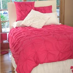 On Sale Hot Pink Pin-Tucked Duvet Cover - Full/Queen