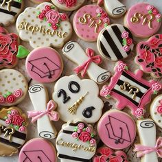 DIY Gifts, Garland, Birthday, Valentines Day, Pottery and Pink Graduation Party, Graduation Desserts, Graduation Cookies, College Graduation Parties, Graduation Celebration, Grad Parties, Graduation Ideas, Kate Spade Party, Grad Party Decorations