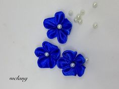 FASHION CREATIONS: Five Petals Ribbon Flower with Beads