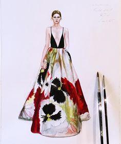 Valentino Fall 2018 RTW 🌺Maison Valentino Rosemary Brushes on Dress Design Drawing, Dress Design Sketches, Fashion Design Sketchbook, Fashion Design Drawings, Fashion Sketches, Dress Designs, Art Sketchbook, Fashion Illustration Tutorial, Fashion Drawing Tutorial