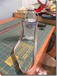 DIY Water Bottle Holder Tutorial ... quick and simple.  For a day of attending craft shows or yard sales!   Over the shoulder version using rubber o-ring and ribbon.
