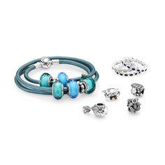 Summer themed PANDORA jewelry. #PANDORAbracelet #PANDORAcharm #PANDORAring