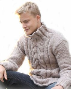 On SALE Hand Knit Men's Sweater Pretty Warm With Cables from Best Peruvian Merino Wool Made to order. $180.00, via Etsy.