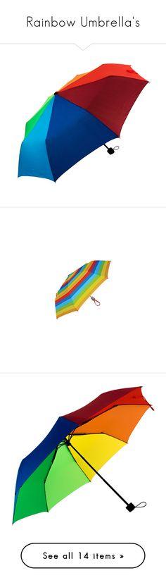 """Rainbow Umbrella's"" by carmen-ireland ❤ liked on Polyvore featuring accessories, umbrellas, multi colored umbrellas, rainbow umbrella, multicolor umbrella, folding umbrella, colorful umbrellas, rainbow walker umbrella, metal umbrella and multi"