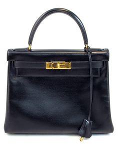 dcba0720c8 Hermes Black Leather  Kelly 28  Shoulder Hermes