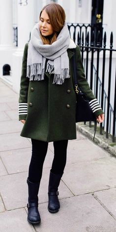 Marianna Mäkelä + military trend + double breasted khaki coat + striped detailing + skinny jeans or black leggings + Marianna's authentic winter look! Coat: Hilfiger, Boots: Primeboots, Bag: Céline, Scarf: BeckSöndergaard....   Style Inspiration