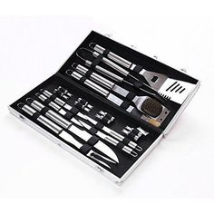 NEW BBQ Grill Tool Set 18 Piece Stainless Steel Utensils Aluminum Storage Case #BBQTools