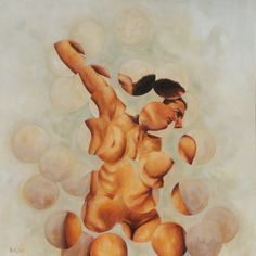"""Female Figure Stretching"", 2006, Oil on Canvas 60 x 60 in / 152 x 152 cm"