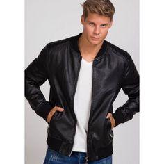 15b085690c4a Prechodná pánska koženková bunda čierna bez kapucne - fashionday.eu