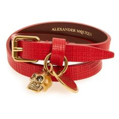 Women's Alexander Mcqueen Skull Charm Leather Wrap Bracelet ($245) ❤ liked on Polyvore featuring jewelry, bracelets, alexander mcqueen jewelry, leather bangles, alexander mcqueen bangle, charm bangle and skull charms